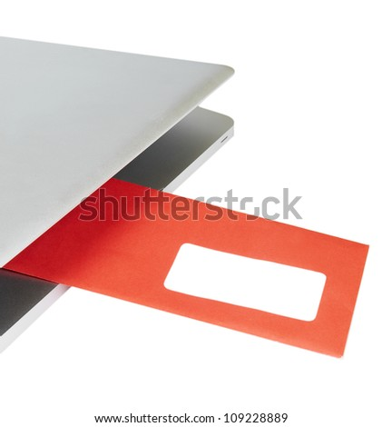Letter flying out of modern laptop - stock photo
