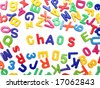 Letter fridge magnets - Chaos - stock photo