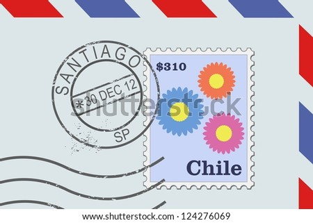 Letter from Chile - postage stamp and post mark from Santiago. Chilean mail. - stock photo