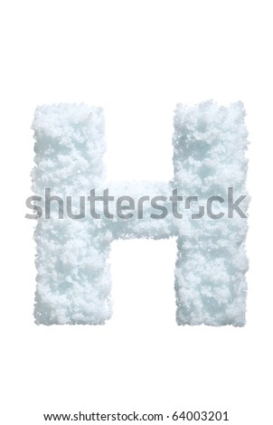 Letter from snow style alphabet. Isolated on white background. With clipping path. - stock photo