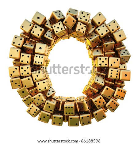 letter from the golden dice. isolated on white. including clipping path.