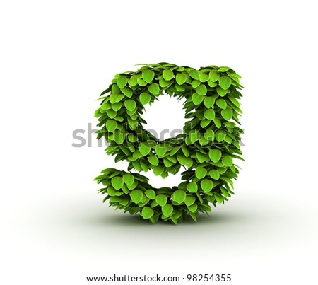 Letter  g, alphabet of green leaves, small caps - stock photo