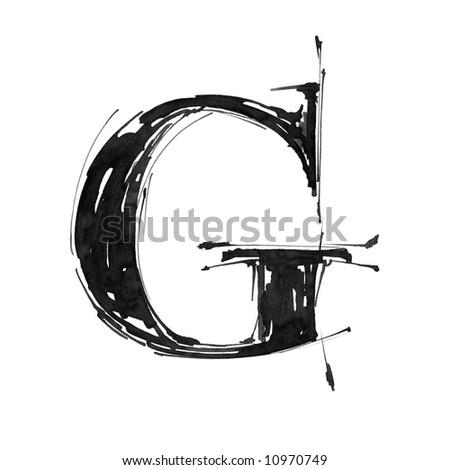 letter G. Alphabet symbol - grunge hand draw paint - stock photo