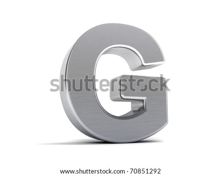 Letter G as a brushed metal 3D object - stock photo