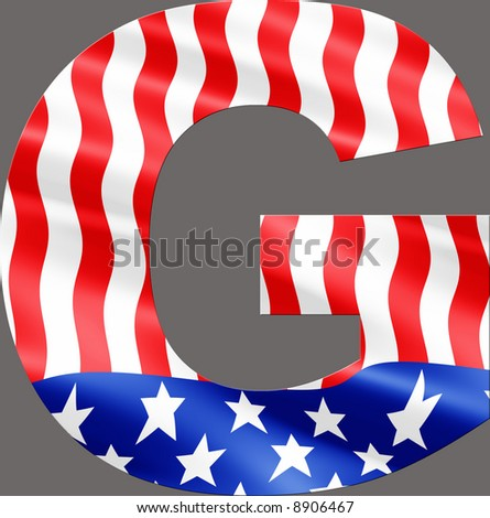 Letter G cut from rippling American flag