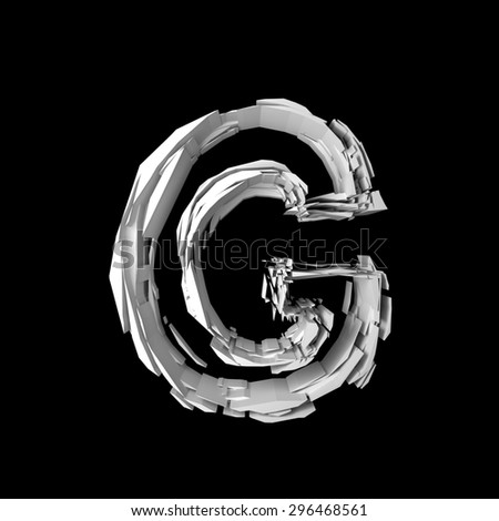 Letter G extruded from pieces in black and white isolated on black background. - stock photo