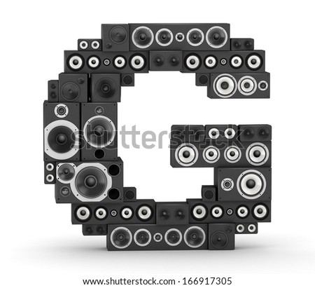 Letter G  from black hi-fi speakers sound systems - stock photo