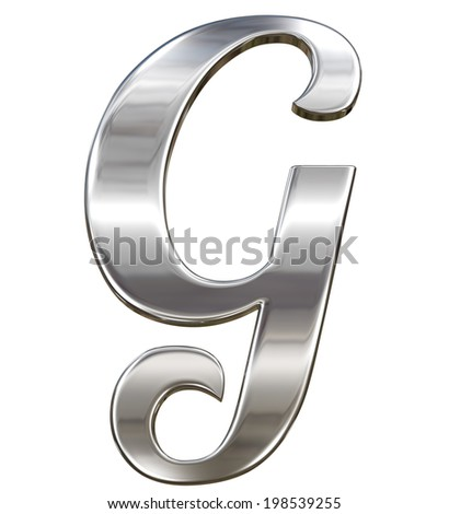 Letter G from chrome solid alphabet isolated on white - stock photo