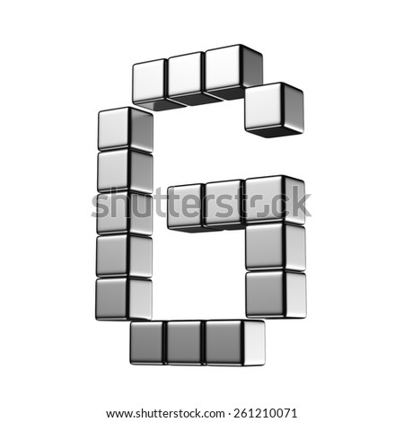 Letter G from digital cube middle perspective alphabet. There is a clipping path - stock photo