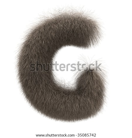 Letter G from fur alphabet - stock photo