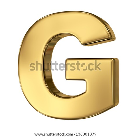 Letter G from gold solid alphabet - stock photo