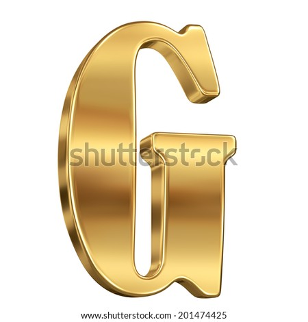 Letter G from gold solid alphabet. - stock photo