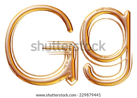 Letter G from gold solid alphabet on isolated white. - stock photo