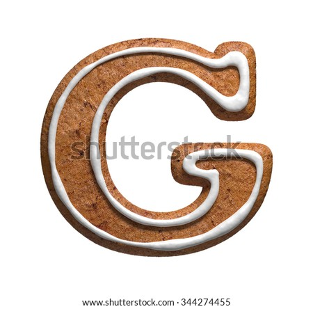 Letter G. Gingerbread font. Christmas cookies alphabet. - stock photo