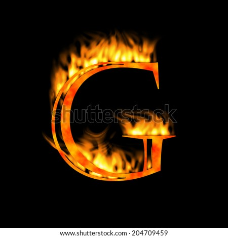 Letter G. Letter symbol. Fire alphabet letter isolated on black. Look for more symbols in my gallery. - stock photo