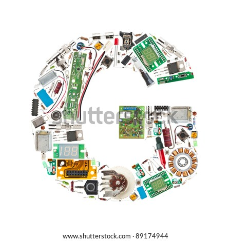 Letter 'G' made of electronic components isolated in white background - stock photo