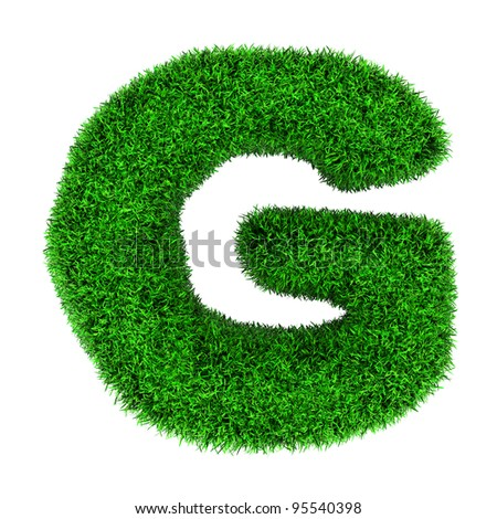 Letter G, made of grass isolated on white background. - stock photo