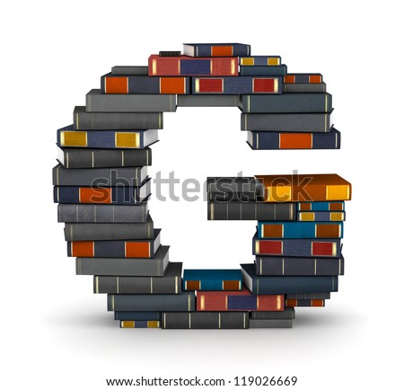 Letter G, stacked from many encyclopedia books in pile - stock photo