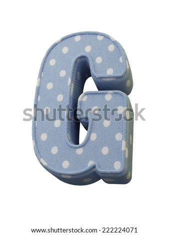 Letter G. Textile alphabet. 3D Raster version. Isolated on white. - stock photo