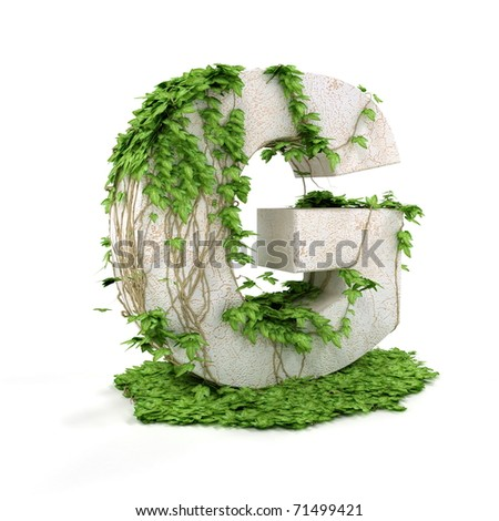 Letter G threads covered with ivy isolated on white background. - stock photo