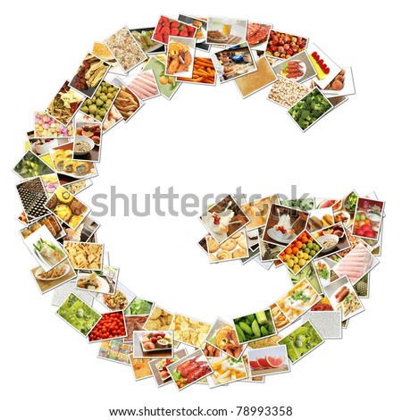 Letter G with Food Collage Concept Art - stock photo