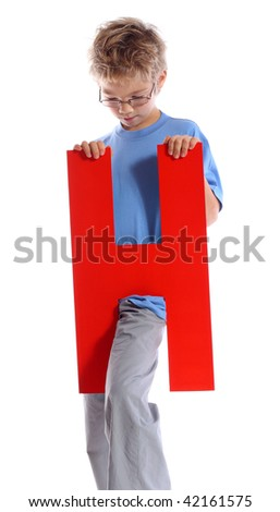 """Letter """"H"""" boy - See all letters in my Portfolio - stock photo"""
