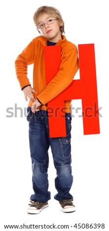"Letter ""H"" boy - The Alphabet Series - stock photo"