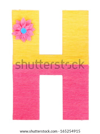 Letter H created with brightly colored knitting yard isolated on white - stock photo