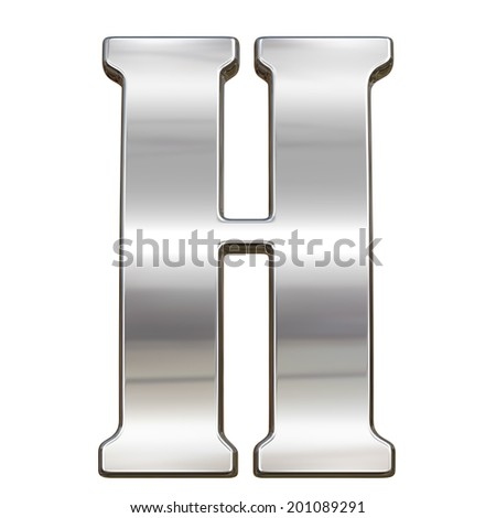 Letter H from chrome solid alphabet isolated on white - stock photo