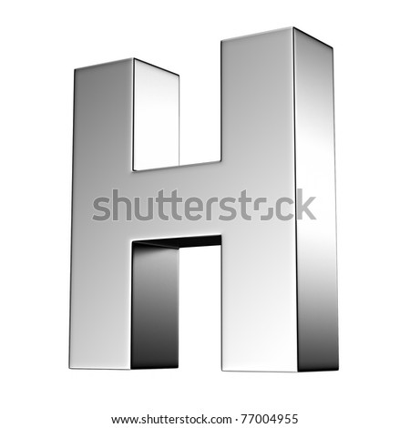 Letter H from chrome solid alphabet. There is a clipping path - stock photo