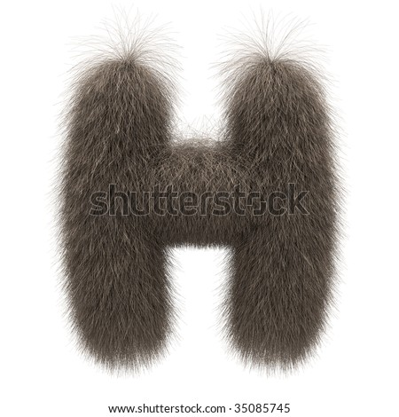 Letter H from fur alphabet - stock photo