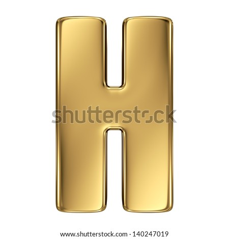 Letter H from gold solid alphabet.