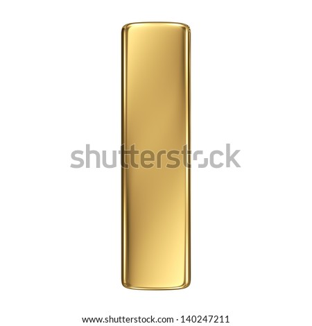 Letter h from gold solid alphabet. Lowercase - stock photo