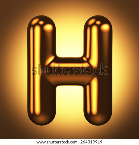 Letter H from round pure gold alphabet. There is a clipping path. The background is presented as an example. It can be replaced - stock photo