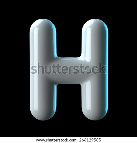 Letter H from round white blue light alphabet. There is a clipping path - stock photo