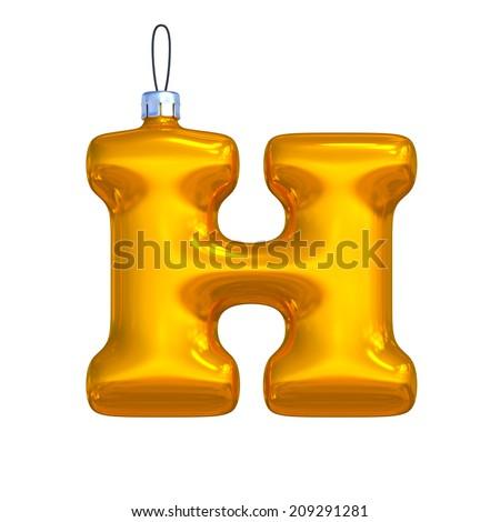 Letter H. Golden shining christmas ball. Alphabet isolated on white background. - stock photo