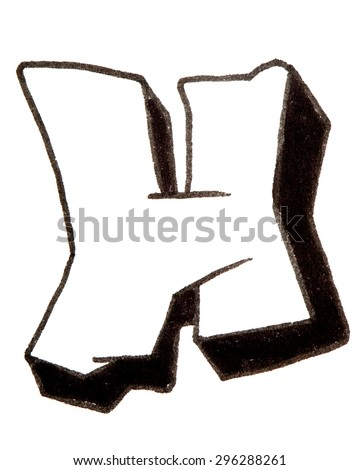 Letter H, hand drawn alphabet in graffiti style with a black fiber tip pen - stock photo