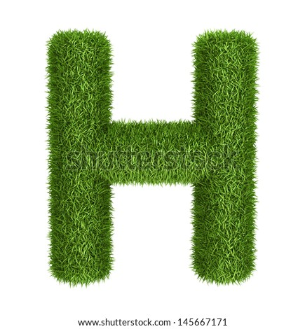 Letter H  isolated photo realistic grass ecology theme on white