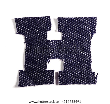 Letter H. Jeans alphabet Isolated on White. Handmade font. - stock photo