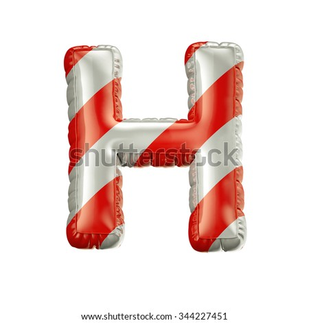 Letter H. Red and white Balloon font isolated on White Background.Birthday alphabet. - stock photo