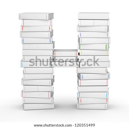 Letter H, stacked from many blank title books in column - stock photo
