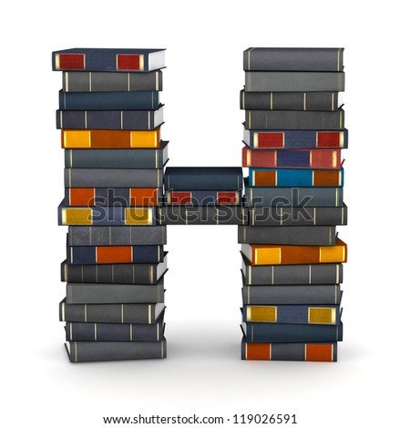 Letter H, stacked from many encyclopedia books in pile - stock photo