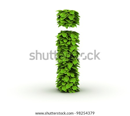 Letter  i, alphabet of green leaves, small caps - stock photo