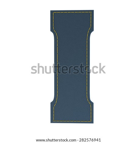 letter I from denim - jeans, on a white background, high specification of fabric, it is stitched by the yellow high-detailed threads - stock photo