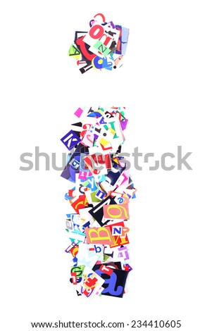 Letter I made of colorful newspaper letters isolated on white - stock photo