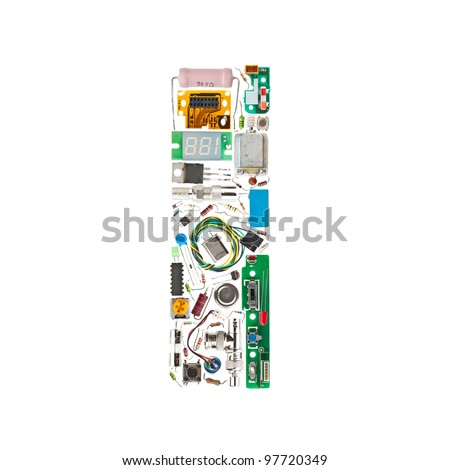 Letter 'I' made of electronic components isolated in white background - stock photo
