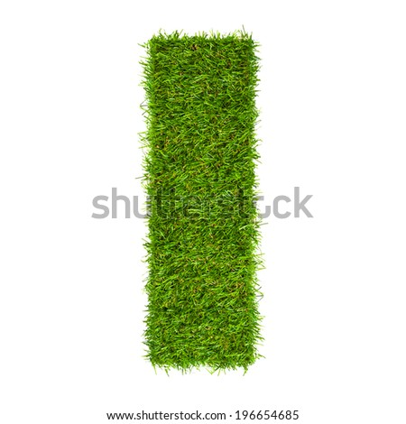 Letter I made of green grass isolated on white - stock photo