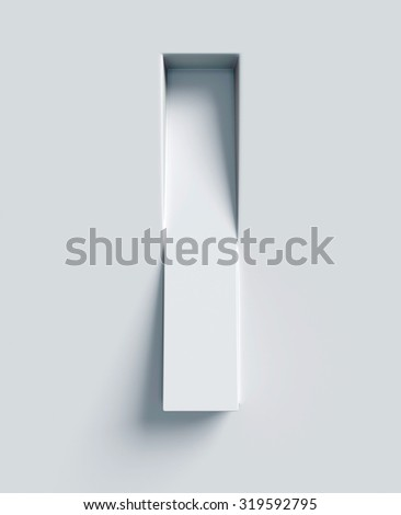 Letter I slanted 3d font engraved and extruded from the surface - stock photo