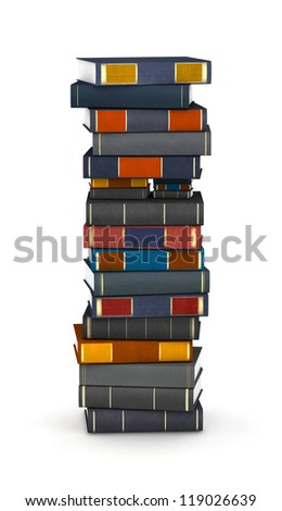 Letter I, stacked from many encyclopedia books in pile - stock photo