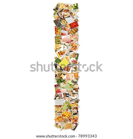 Letter I with Food Collage Concept Art - stock photo